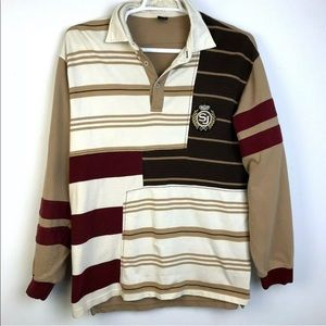 Sean John Color Block Rugby Shirt Earth Tones